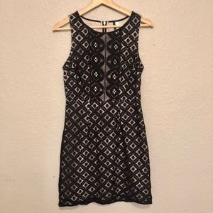 Kensie Tank Dress Black White Lace Exposed Zipper